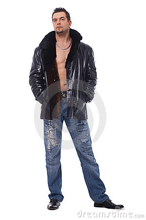 Full Length Of A Man In Leather Jacket.
