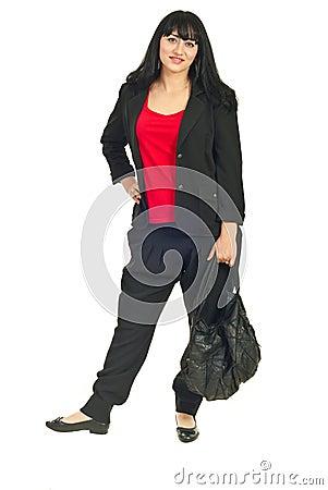 Full length of modern businesswoman