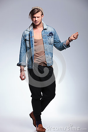 Free Full Length Of Casual Man With One Eye Closed Stock Images - 33178844