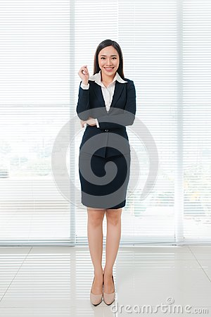 Free Full Length Of Confident Beautiful Young Asian Woman Looking At Royalty Free Stock Photos - 102789998