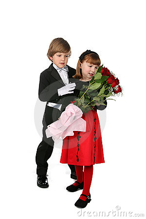 Full length picture of children with flowers