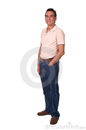 Full Length Portrait of Attractive Smiling Man