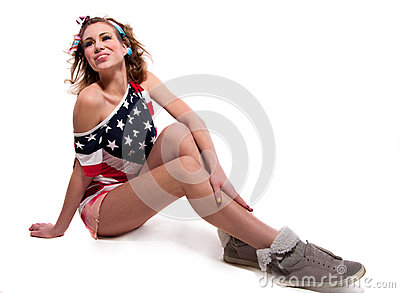 Funny American girl on the floor
