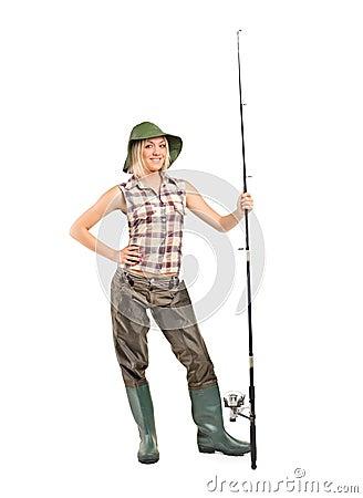 Full length portrait of a blond fisherwoman posing