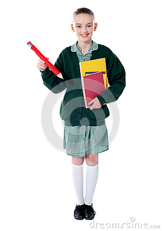 Full length portrait of blonde school girl