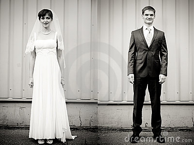 Full Length portrait of bride end groom