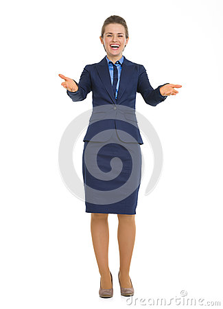 Full length portrait of business woman welcoming
