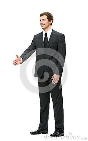 Full-length portrait of businessman handshake gesturing