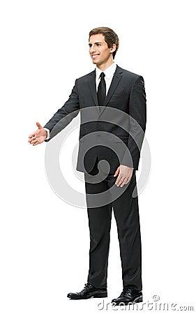 Full-length portrait of businessman handshake gesturing
