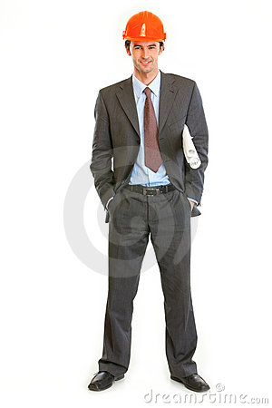 Full length portrait of businessman in helmet