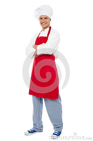 Full length portrait of chef posing in style