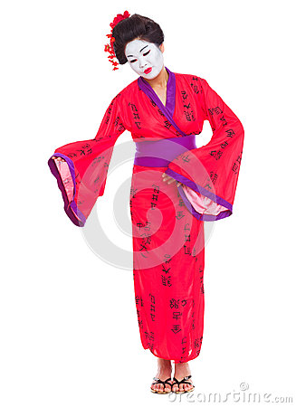 Full length portrait of geisha inviting