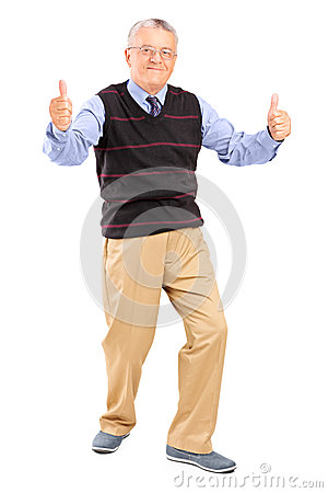 Full length portrait of a gentleman giving thumbs up
