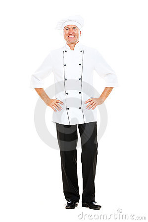 Full- length portrait of happy senior cook