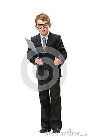 Full-length portrait of little businessman in glasses