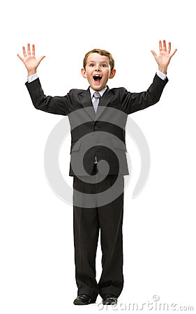 Full-length portrait of little businessman with hands up