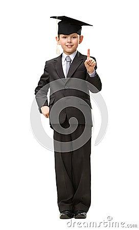 Full-length portrait of little student in black cap