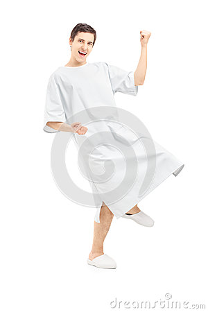 Full length portrait of a male patient gesturing happiness