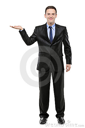 Full length portrait of a man with hand lifted