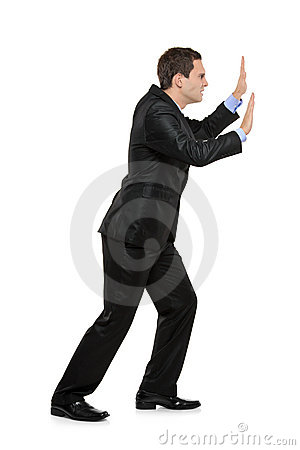 Full length portrait of a man pushing something