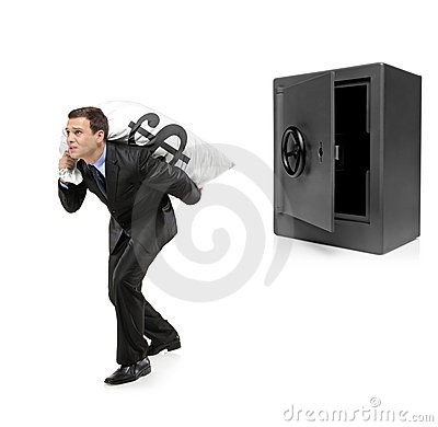 Full length portrait of a man stealing a money