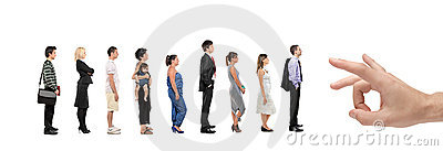 Full length portrait of men and women