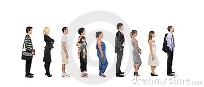Full length portrait of men and women standing