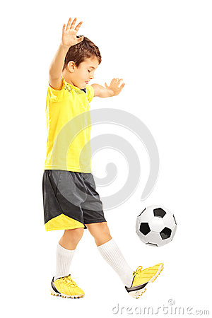 Free Full Length Portrait Of A Boy In Sportswear Joggling A Soccer Ba Stock Photography - 33780492
