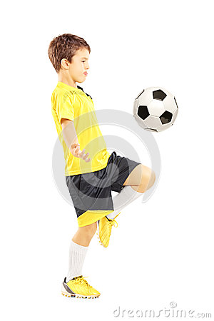 Free Full Length Portrait Of A Child In Sportswear Joggling With A Ba Stock Images - 33954044
