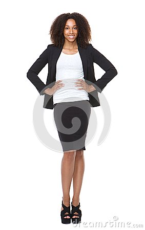 Free Full Length Portrait Of A Young Business Woman Smiling Royalty Free Stock Image - 43426126
