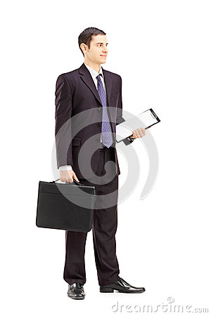Free Full Length Portrait Of A Young Businessman In Black Suit Posing Stock Images - 32606004