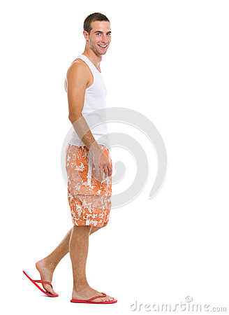 Free Full Length Portrait Of Happy Man Going Sideways Stock Photography - 28984962