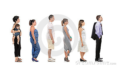 Full length portrait of people in a line