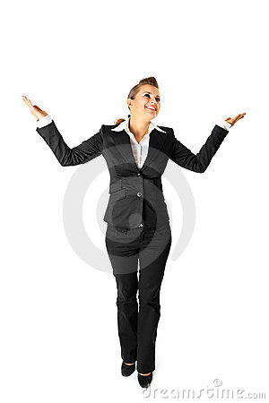 Full length portrait of pleased business woman