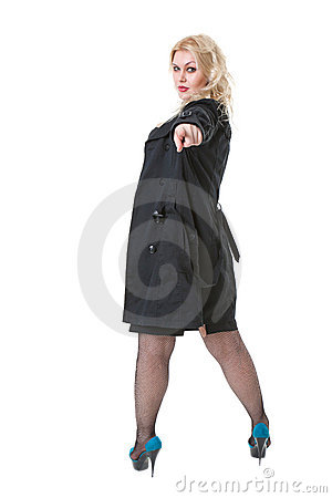 Full-length portrait of sexy young blonde woman
