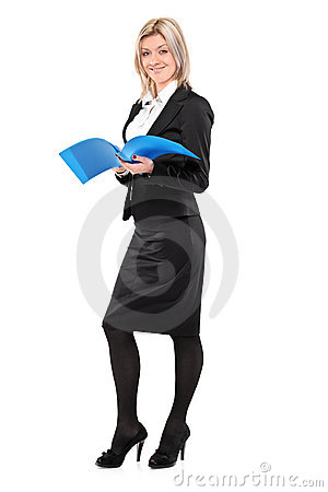 Full length portrait of a smiling businesswoman
