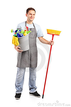 Full length portrait of a smiling cleaner