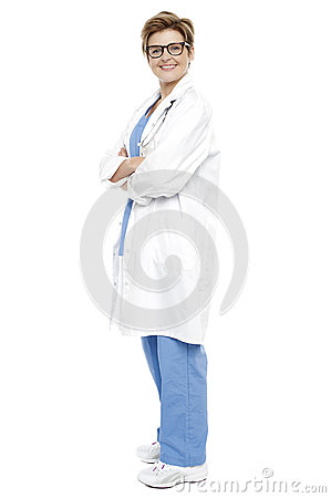 Full length portrait of a smiling female doctor