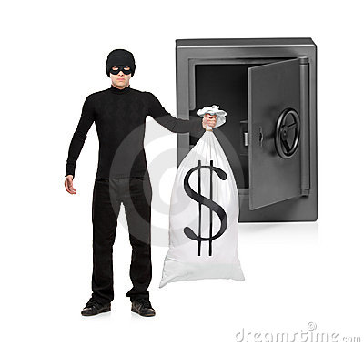 Full length portrait of a thief stealing