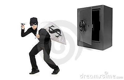 Full length portrait of a thief stealing money