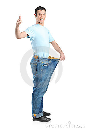 Full length portrait of a weight loss male