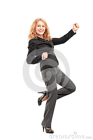 Full length portrait of a woman gesturing happiness