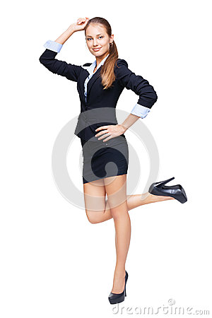 Full length portrait of young beautiful business