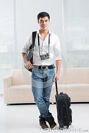 Handsome traveler