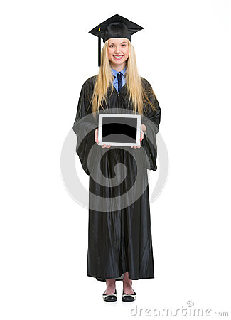 Full Length Portrait Of Woman In Graduation Gown Stock Photography ...