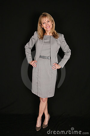 Full length of pretty businesswoman