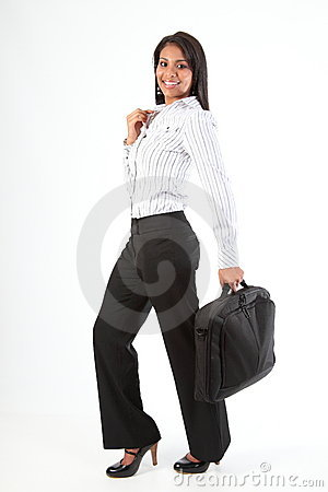 Full length shot business woman with laptop bag