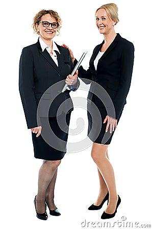 Full length shot of corporate female friends