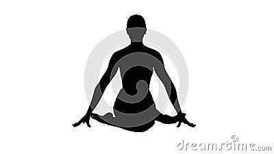 silhouette yoga girl practicing nadi shodhana pranayama or