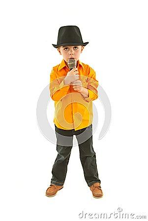 Full length of singer boy